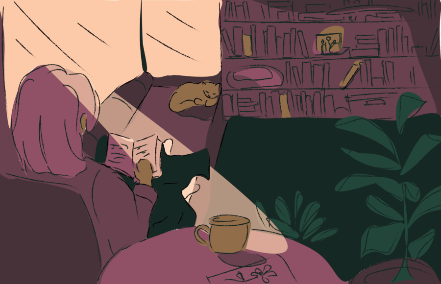 Illustration of a person comfortably seated on a couch and reading, a mug of tea by their side