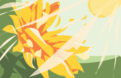 Illustration of a sunflower in the sun