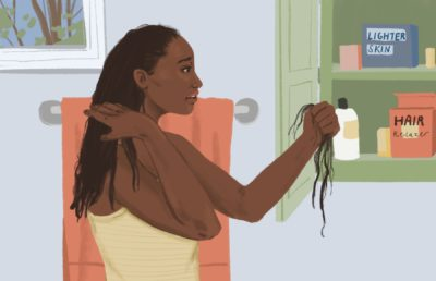 Illustration of a Black woman looking in shock at her hair that has fallen out due to the harsh chemicals in beauty treatments