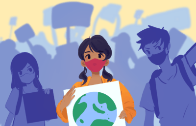 Illustration of a group of young adults protesting together on climate change policies
