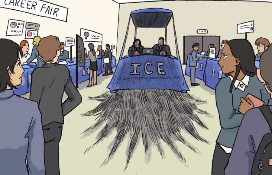 Illustration of the ICE booth at a career fair casting a shadow