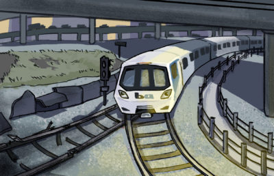 Illustration of a BART train switching away from dilapidated tracks and turning towards a brighter, well-maintained set of tracks