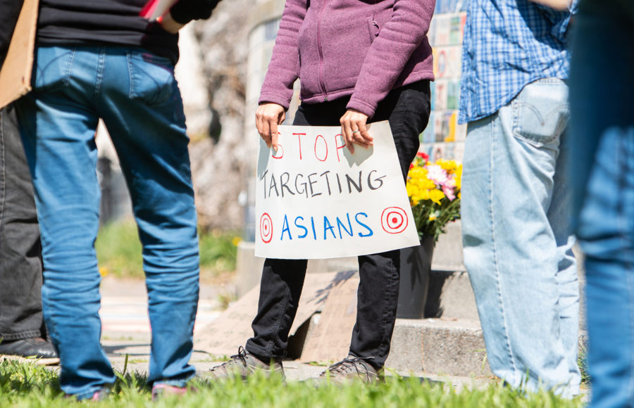 """Photo of """"Stop Targeting Asians"""" sign"""