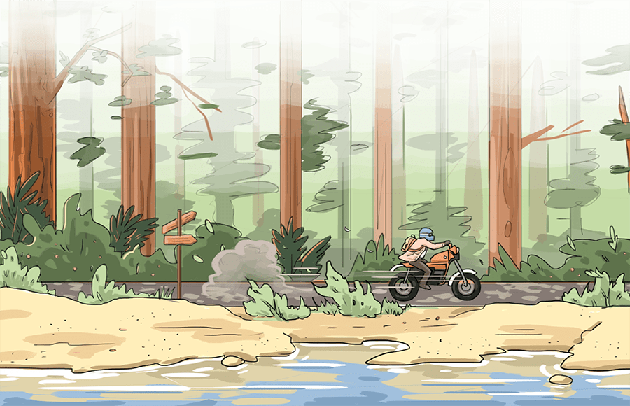 (FILE) Illustration of a person on a motorcycle going through the woods