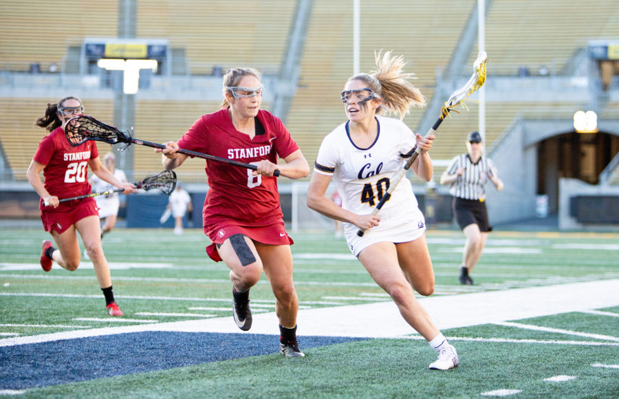 Photo of Cal Women's Lacrosse Player charging with the ball