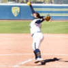 Photo of Cal Women's Softball pitcher winding up