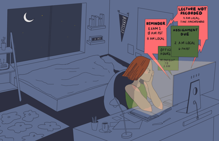 Illustration of a tired international student awake late at night while notifications about school come in on their computer