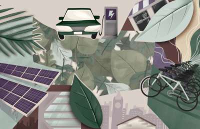 Illustration of different sustainability-focused items, like solar panels, electric vehicles, and bicycles