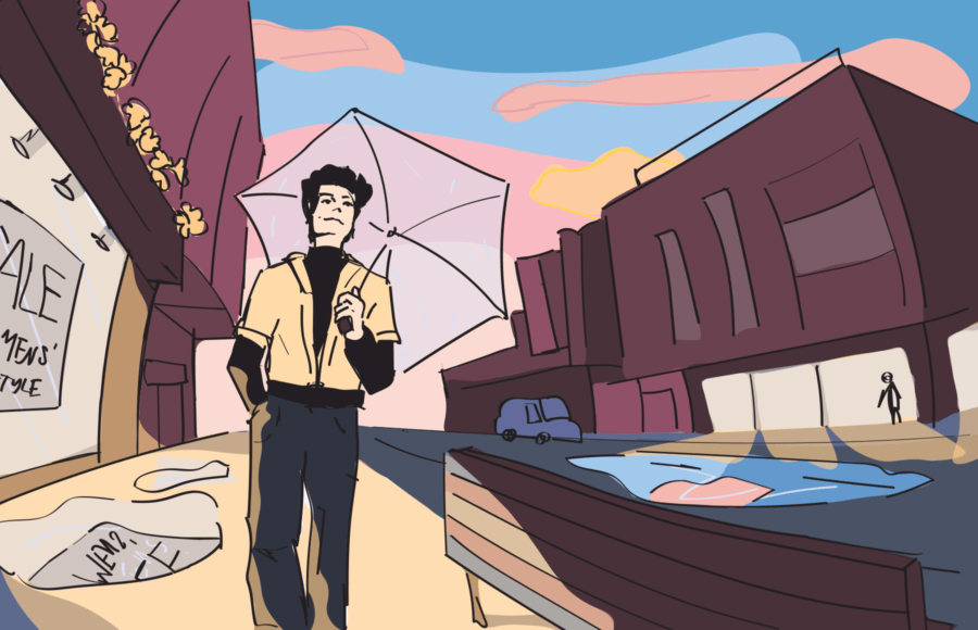 Illustration of a person walking down a street, with the sunset in the background lit up with the transgender pride colors