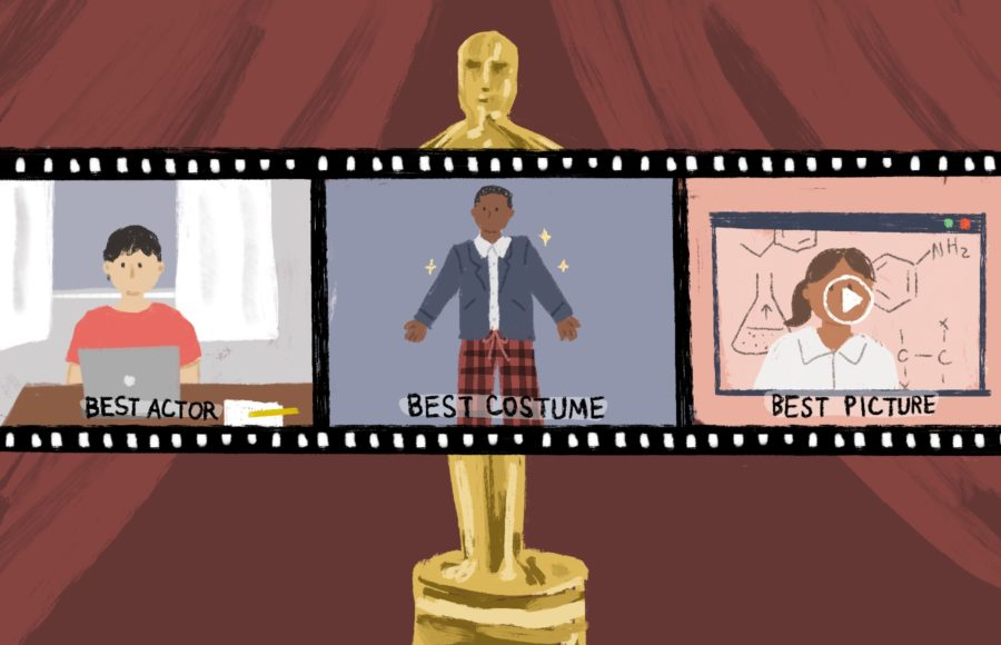 Illustration of a film reel showing people being awarded for the everyday aspects of working remotely