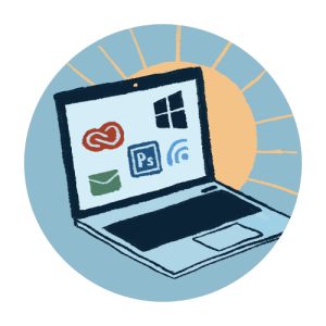 Illustrated icon of a computer with different programs running on it