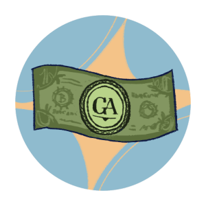 Illustrated icon of a dollar bill with the GA logo on it