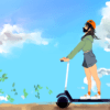 Illustration of a person on a scooter against a bright sunny sky, with leaves drifting