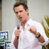 Photo of Gavin Newsom speaking at a rally