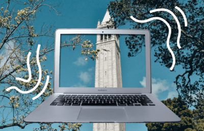 Image of a laptop framing the campanile