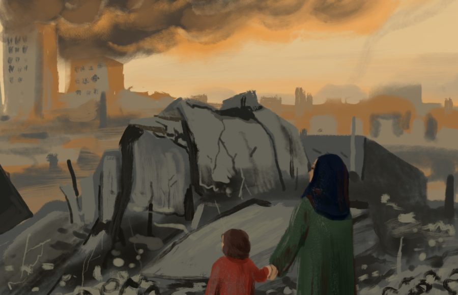 Illustration of a woman and a child looking at a burning city