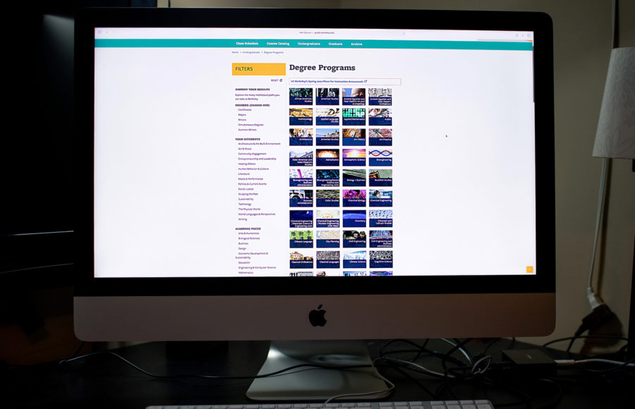 photo of a computer screen with the Berkeley degree programs page open