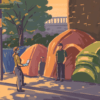 Illustration of census worker with homeless individual