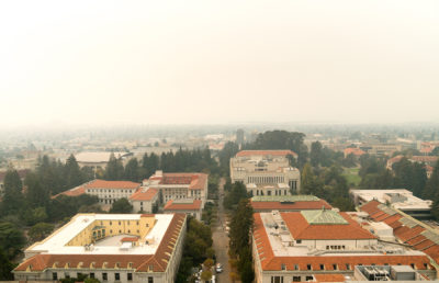photo of a smokey day on campus