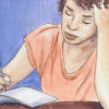 Illustration of a girl writing