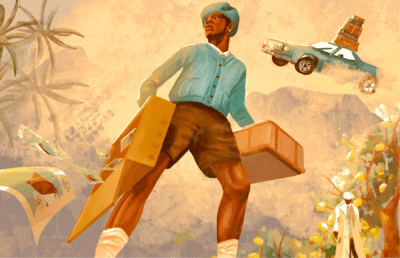 Illustration of a man out in nature