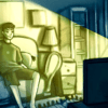 Illustration of a boy watching tv