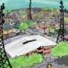Illustration of a school with towering cell towers