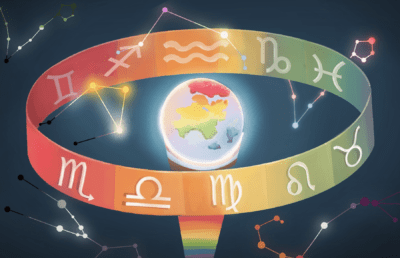 Illustration of a globe with a ring of astrological symbols