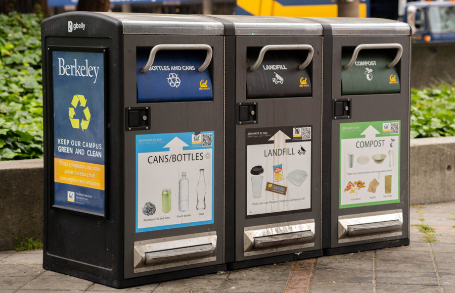 photo of recycle / landfill / compost bins