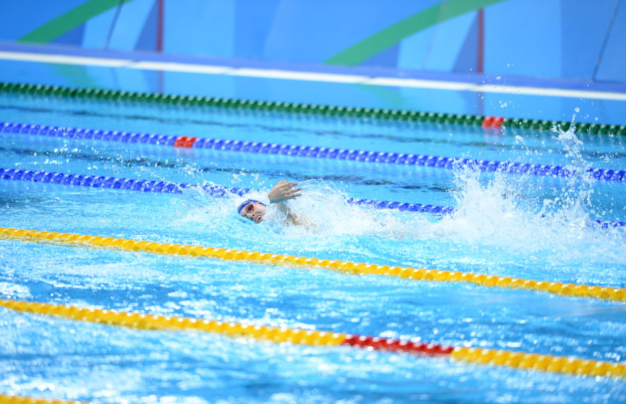 photo of a swimmer during the Olympics