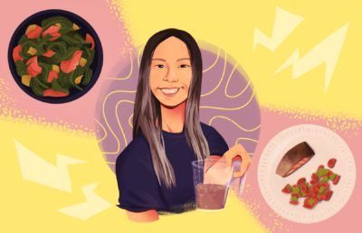 Illustration of Chloe Ting and her diet
