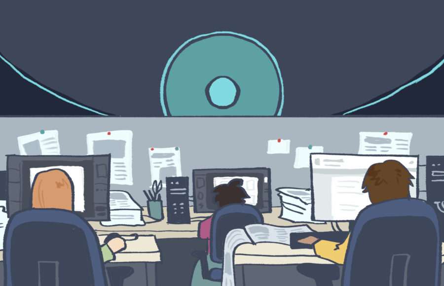 Illustration of an office with a malignant force watching