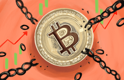 Illustration of bitcoin breaking chains