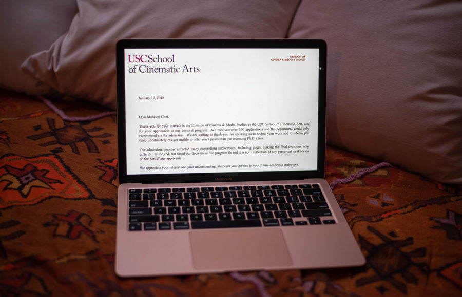 photo of college rejection letter