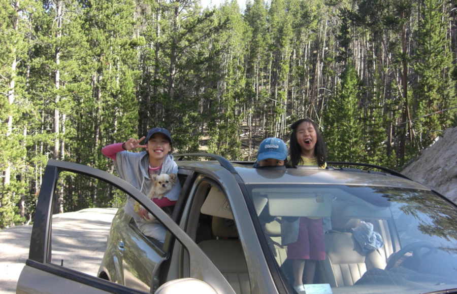 photo of kids in a car during a road trip