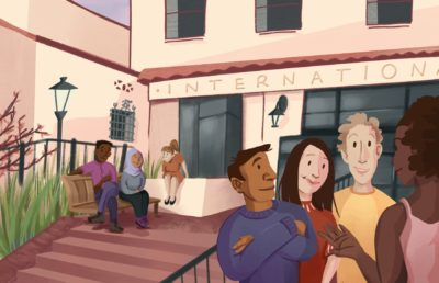 Illustration of students in front of International House