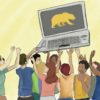 Illustration of Cal students holding up a laptop