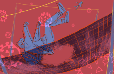 Illustration of a man falling through germ particles