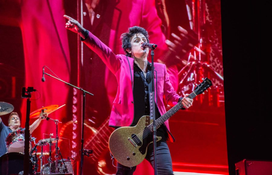 Photo of Billie singing at a Green Day concert