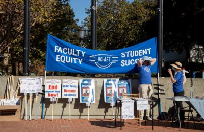 Photo of signs used at the UC-AFT rally