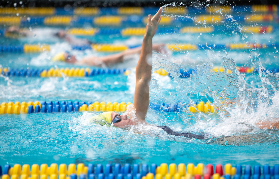 photo of a Cal women's swimmer