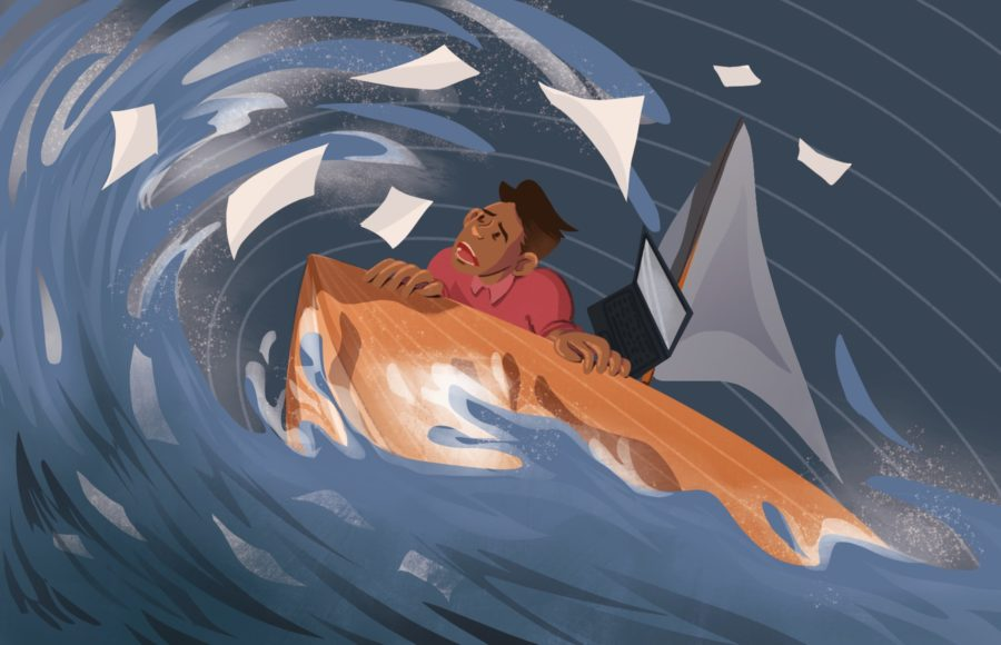Illustration of an overwhelmed man capsizing on a boat of paper