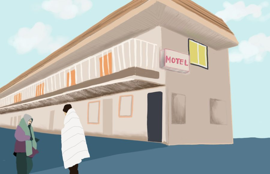 Illustration of people outside of a motel