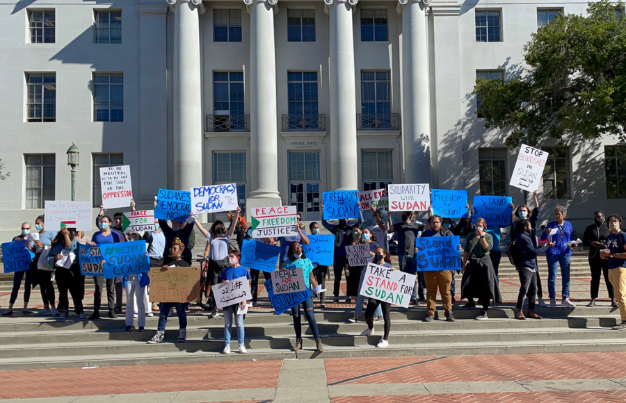 photo of a protest in front of Sproul Hall