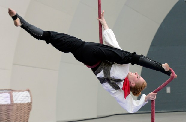 Anastasia Timina performs on the rope. ...