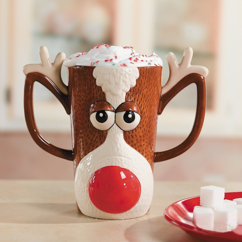 Reindeer Face Holiday Mug with Red Nose and Antlers