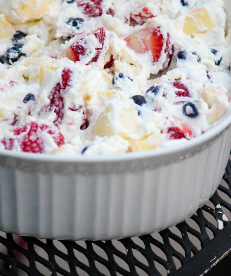 red white and blue fruit salad with coconut milk whipped cream