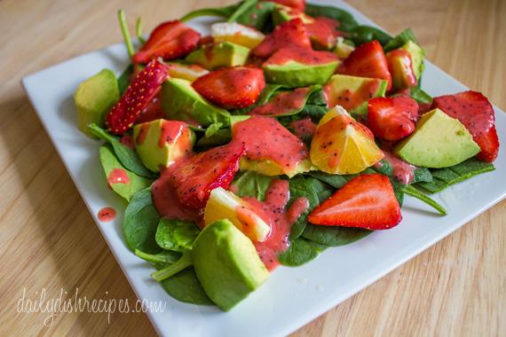 Strawberry Avocado Spinach Salad with Strawberry Vinaigrette