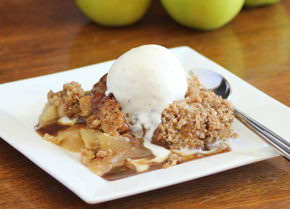 Old Fashioned Apple Crisp with Caramel Sauce