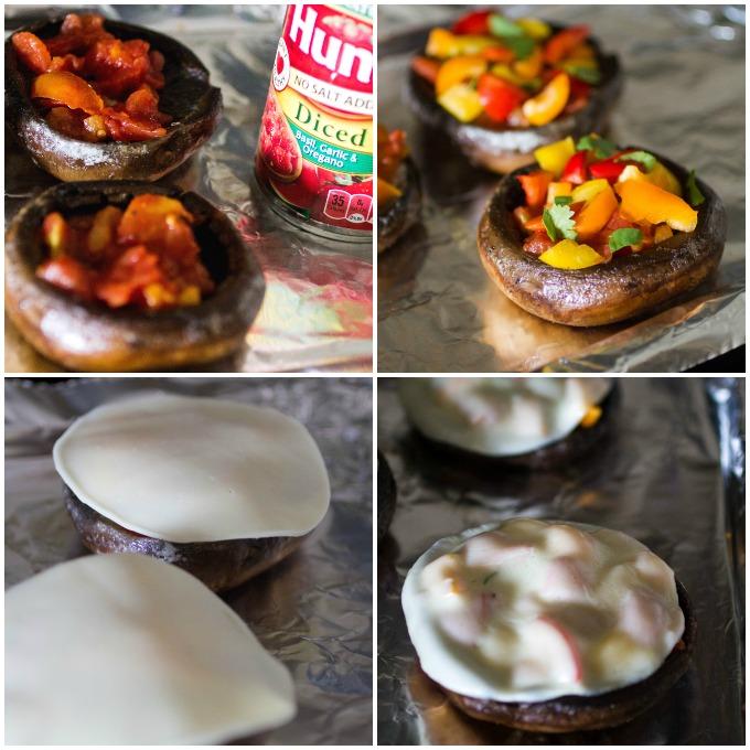 Seasoned Tomato and Pepper Stuffed Portabella Mushrooms #YesYouCAN #spon